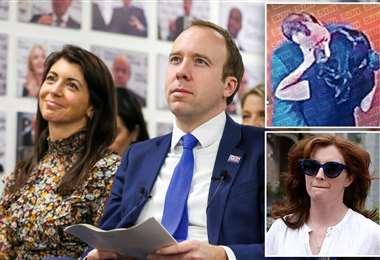 Matt Hancock junto a su asistente, la imagen difundida por The Sun y su esposa