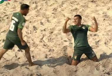 César Aguilera (de rodillas) marcó el gol de Bolivia. Foto: Captura de pantalla