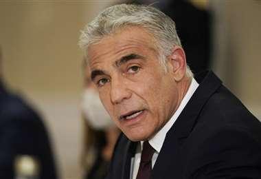 Yair Lapid en la reunión con el secretario de Estado de Estados Unidos