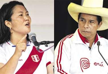 Fujimori y Castillo van por la presidencia de Perú. Foto. AFP