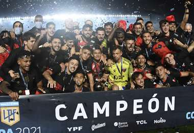 El festejo del flamante campeón del fútbol argentino. Foto: AFP
