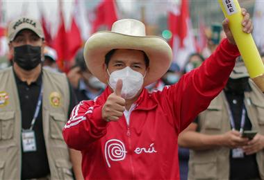 Pedro Castillo, candidato a la presidencia de Perú. Foto. AFP