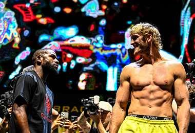 La promoción de la pelea entre Mayweather y Logan Paul. Foto: AFP
