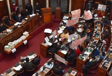 Guerra de carteles en el pleno de la Asamblea (Foto: APG Noticias)
