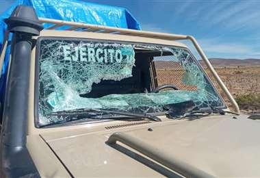 El motorizado atacado I Viceministerio de Lucha Contra el Contrabando.