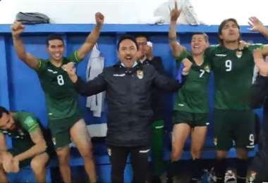 Captura de pantalla del festejo de la Verde en el camarín en Chile