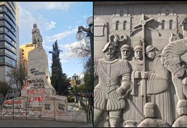 Las dos estatuas en La Paz I Twitter.