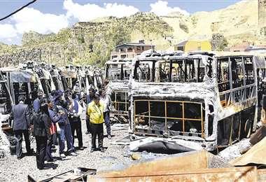 Los buses quemados en 2019