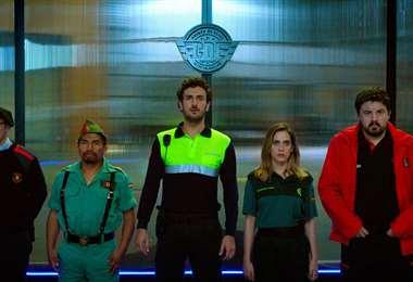 Aduviri (segundo de la izquierda), en la película española Cuerpo de Élite