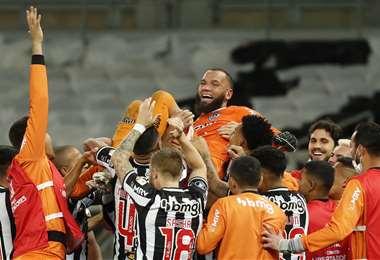 La celebración del Atlético Mineiro por la clasificación. Foto: AFP