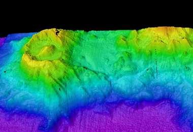 Imagen computarizada del volcán