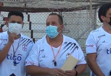David Perdiguero (c.) nuevo DT de Real Santa Cruz. Foto: Prensa Real SC