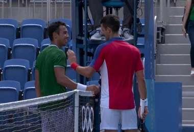 Hugo Dellien le expresó su admiración a Djokovic. Foto: Captura de pantalla