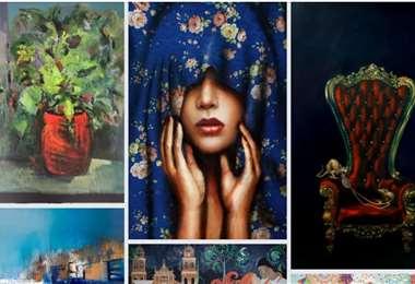 Parte de las obras que fueron donadas por artistas amigos de Valcárcel (Facebook)