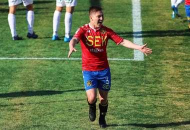 El festejo de Chumacero tras su gol a Huachipato. Foto: La Tercera