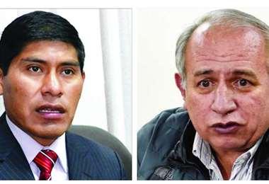 Idelfonso Mamani y Antonio Costas, exvocales del TSE.