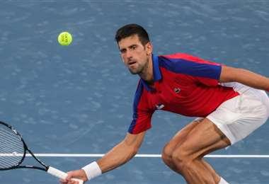 Novak Djokovic durante el partido de octavos de final. Foto: AFP