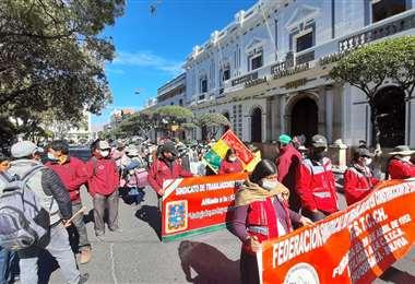 Protesta de trabajadores en Sucre/Foto: Miguel Ángel Roca