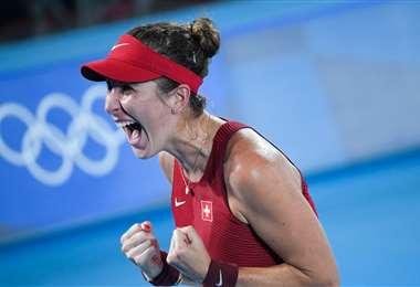Belinda Bencic, medalla de oro en tenis. Foto: AFP