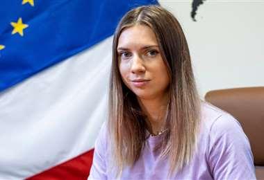 Krystsina Tsimanouskaya tiene asilo humanitario en Polonia. Foto: AFP