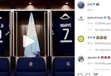 Captura de pantalla del video que publicó el PSG en Instagram