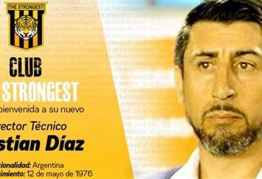 The Strongest publicó está imagen en sus redes sociales dando la bienvenida a Díaz