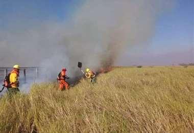Esta jornada ingresó el fuego al parque Otuquis del municipio de Puerto Suárez.
