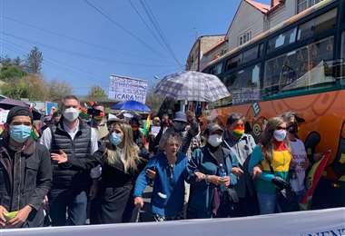 Marcha del Conade en apoyo a Áñez