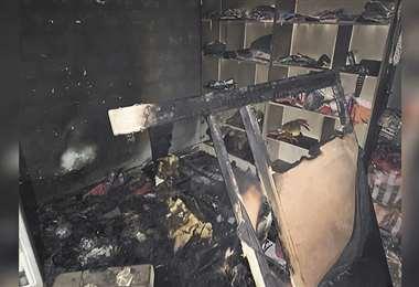 El fuego destruyó enseres en la habitación de las víctimas
