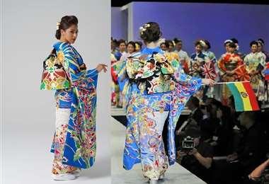 El kimono estuvo a cargo del artista Kei Takahashi