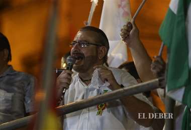 Foto Juan Carlos Torrejón: Rómulo Calvo dio un discurso luego de la marcha.
