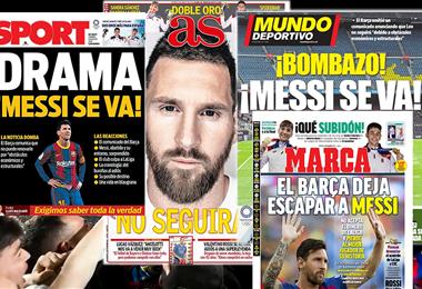 Así reflejaron los medios deportivos de España la salida de Messi del Barza