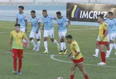 El festejo de los jugadores de Aurora, tras el gol de Amílcar Sánchez. Foto: APG Noticias