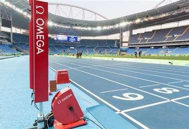 Equipo con la tecnología Omega para las pruebas de atletismo. Foto: Internet