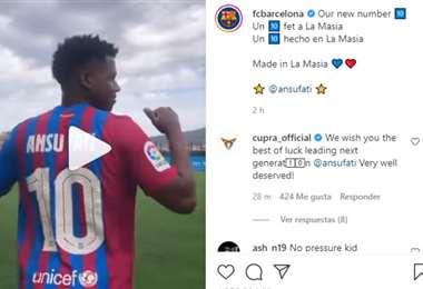 Captura de pantalla del video publicado por el Barcelona en Instagram