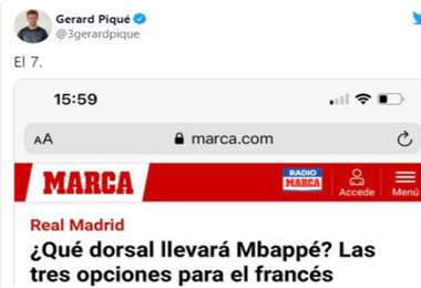 El post de Gerard Pique en su cuenta de Twitter. Foto: Internet