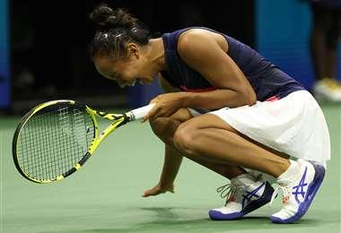 La celebración de Leylah Fernández, que este sábado jugará la final del US Open. Foto. AFP