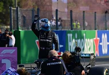 El festejo de Bottas tras ganar este sábado el sprint en Monza. Foto. AFP