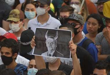 Manifestaciones contra Bolsonaro en Brasil. Foto AFP