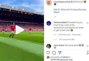 Captura de pantalla del video publicado por el Manchester United en Instagram