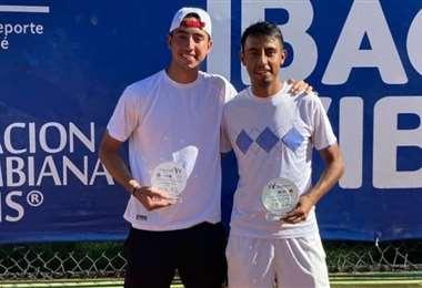 Murkel Dellien (izq.) y Boria Arias, campeones en Colombia. Foto: FBT