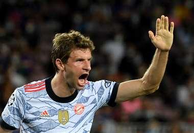 El festejo de Thomas Muller, jugador del Bayer Múnich. Foto: AFP