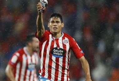 La celebración de Cuéllar tras su primer gol en el CD Lugo. Foto: Internet