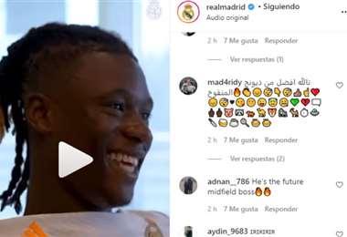 Captura de pantalla del video que publicó el Real Madrid
