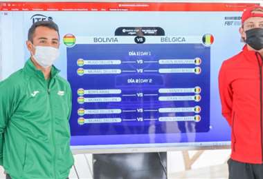 Hugo Dellien (izq.) y Bemelmans junto al rol de partidos de la Copa Davis. Foto: ITF
