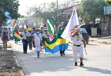 Marcha indígena que salió de San José llega a Pailón/Foto: Hubert Vaca