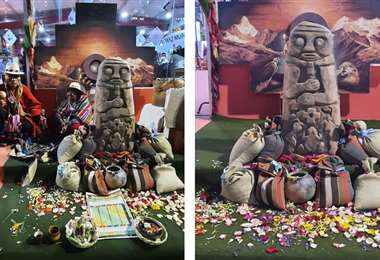 La replica de la Illa del Agua está en Expocruz. Foto: Alcaldía de El Alto