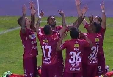 La celebración de los jugadores de Always Ready en Potosí. Foto: Captura de pantalla