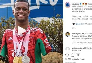 Captura de pantalla del video publicado por el Cruzeiro en Instagram