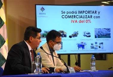 Marcelo Montenegro ofreció una conferencia de prensa en La Paz (Foto: Min. Economía)